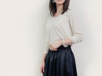チノタイプ 黒 綿混 ロングスカート ブラック ●ROSALIE●の画像