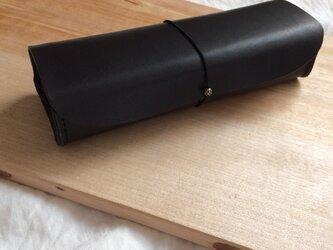 革の筆箱 黒の画像
