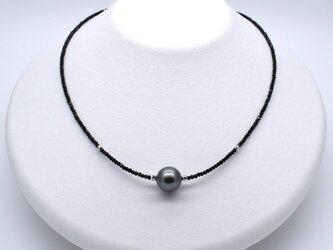 SALE 黒蝶真珠ネックレス パール ブラックスピネル ヘマタイト SV925 シルバー 銀 金属アレルギー対応の画像