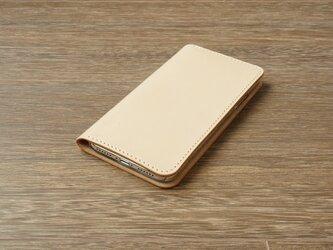 牛革 iPhoneXRカバー  ヌメ革  レザーケース  手帳型  ナチュラルカラーの画像