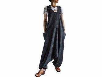 ジョムトン手織り綿アラジンサロペット 墨黒 (DFS-036-01)の画像
