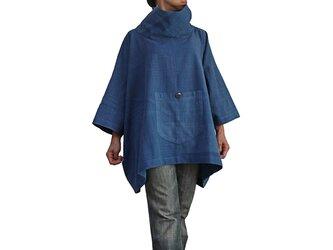 ジョムトン手織り綿のハイネックポンチョプルオーバー インディゴ (BFS-122-03)の画像