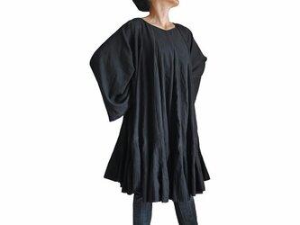 柔らかコットンのアフガンチュニック 黒 (DNN-041-01)の画像