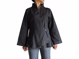 ジョムトン手織り綿オリエンタルカシュクールブラウス 黒 (BNN-084-01)の画像