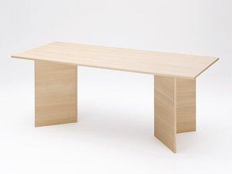 受注製品 シンプルなダイニングテーブル デスク 作業台 職人手作り パイン無垢集成材 ナチュラル 北欧風インテリアの画像