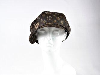 大島紬キャスケット:色々な模様 着物リメイク アンティーク着物 送料無料 1810c04の画像