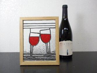 ステンドグラスパネル ワイングラス柄の画像