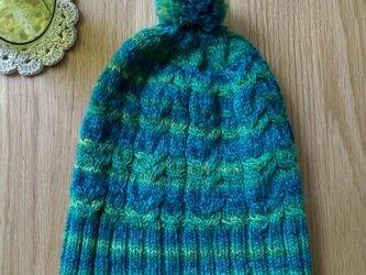 アラン模様のニット帽子*明るいブルー/グリーンの画像
