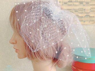 チュールレースのショートベール 〜senna〜 水玉(dot)の画像