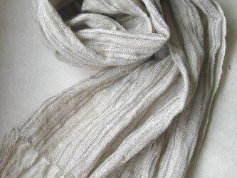 コットン・リネンの手織りストールの画像