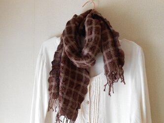 もこもこミニマフラー 手紡ぎ手織り シルク・ラムウール 茶の画像