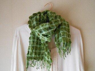 もこもこミニマフラー 手紡ぎ手織り シルク・ラムウール 緑の画像