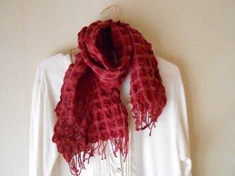 もこもこミニマフラー 手紡ぎ手織り シルク・ラムウール ボルドーの画像