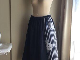 ひょっとこ&おかめギャザースカート(無地ネイビー)の画像