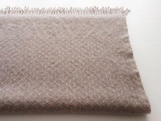 手織りのカシミヤストール/ L /ブラウンベージュの画像