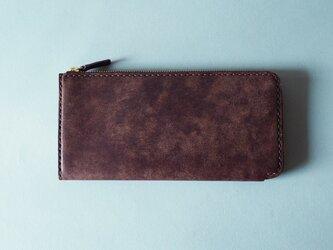 【イタリアンレザー】薄型L字ファスナー長財布 ブラウンの画像