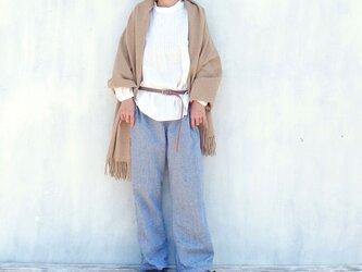 綾織コットンリネンノータックパンツ(ネイビー)の画像