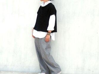 綾織りコットンリネン ノータックパンツ(ブラック)の画像