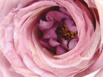 2種シルク使いの巻き薔薇ばら ピンクパープル * コサージュの画像