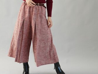 【wafu】厚地 柔らかい 暖かい 起毛 リネン 袴(はかま)ワイドパンツ ウエストゴム ポケット付/茜色 b002b-aki3の画像