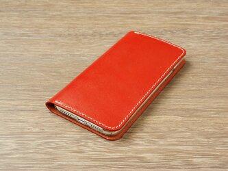 牛革 iPhoneXRカバー  ヌメ革  レザーケース  手帳型  レッドカラーの画像