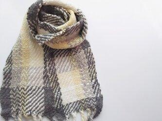 【ホームスパン】 ふっくら手紡ぎウールとアルパカのミニマフラー 301の画像