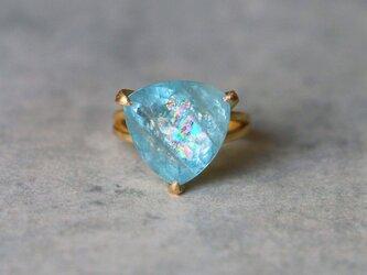 古代スタイル*アクアマリン 指輪*12号 K18の画像