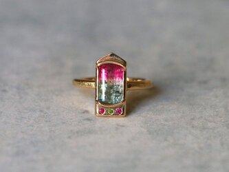 アンティークスタイル*バイカラー・トルマリン  指輪*10号 K18の画像