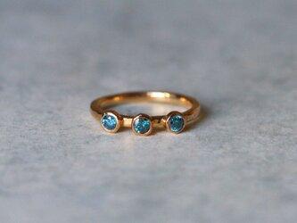 古代スタイル*ブルーダイアモンド 指輪 9号*18ktゴールドの画像