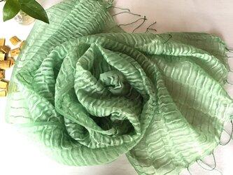【藍の生葉とキハダの重ね染め】ウール&シルクストール の画像