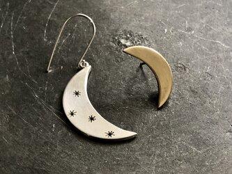 Moon Star アシンメトリー ピアス/ silver金具タイプの画像