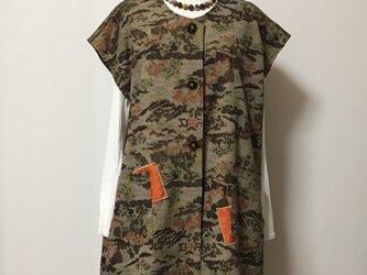 正絹紬 デザインロングベスト 着物リメイクの画像