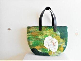 ふわふわ羊のいる丘 バッグの画像