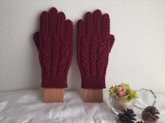 ★☆手編み♪模様編み5本指手袋(洗濯機で洗えます♪)☆★の画像