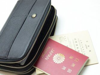 クロム革パスポートケース(お薬手帳用)ブラック メンズ 【日本製】の画像