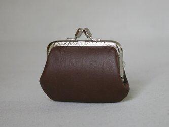 コロンと可愛い本革 牛革 がま口 小銭入れ コインケース ブラウン 口金シルバーの画像