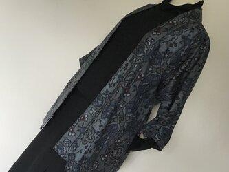 1107    着物リメイク    七分袖ジャケット    村山大島紬    格子に華更紗模様の画像