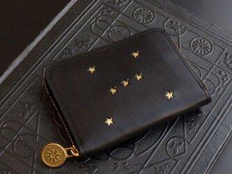 ラウンドファスナー コンパクト財布(ORION ブラック) 牛革  メンズ レディース ILL-1174の画像