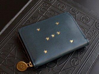 ラウンドファスナー コンパクト財布(ORION ナイトブルー) 牛革  メンズ レディース ILL-1174の画像