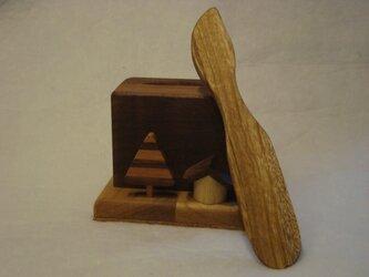 無垢の木 木立と小屋の靴ベラとスタンド(新作です。)の画像