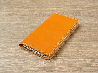 牛革 iPhoneXRカバー  ヌメ革  レザーケース  手帳型  キャメルカラーの画像