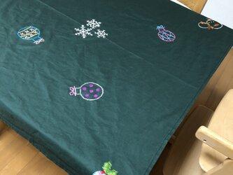 【受注製作】クリスマス刺繍のテーブルクロスの画像
