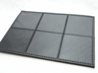 6枚タイルレザーマット 栃木レザー【ブラック×ブラック】 の画像