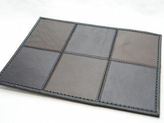 6枚タイルレザーマット 栃木レザー【ブラック×ブラウン】 の画像