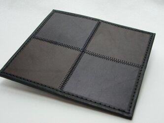 4枚タイルレザーマット 栃木レザー【ブラック×ブラウン】の画像