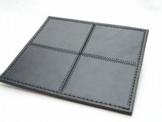 4枚タイルレザーマット 栃木レザー【ブラック×ブラック】の画像