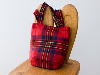【受注】タータンチェックのお散歩バッグ【Lesrie Red】の画像