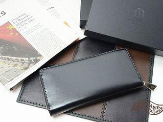 クリスペルカーフラウンドファスナー長財布 ブラックの画像