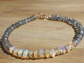 *14kgf*Opal Gem Bracelet オパールとアイオライトのブレスレットの画像