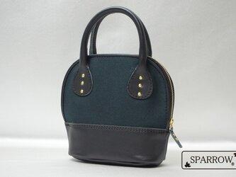 4号帆布×牛革化粧ポーチ ブラック レディース バッグインバッグの画像